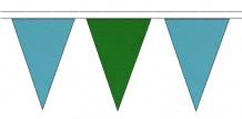 SKY BLUE AND MID GREEN TRIANGULAR BUNTING - 10m / 20m / 50m LENGTHS (9) (11)